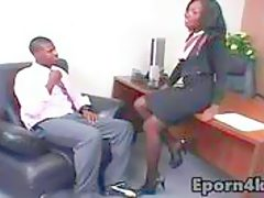 Ebony secretary love giving blowjob